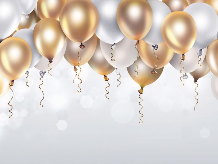 Image of Festive background with gold and white balloons