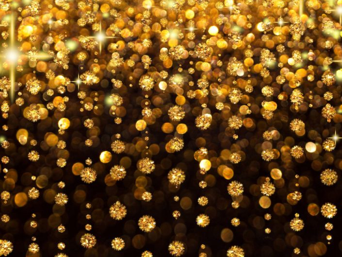 Image of Golden rain background with shimmering jewels